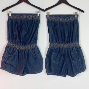 Blue Spice  chambray  tube Romper pockets S